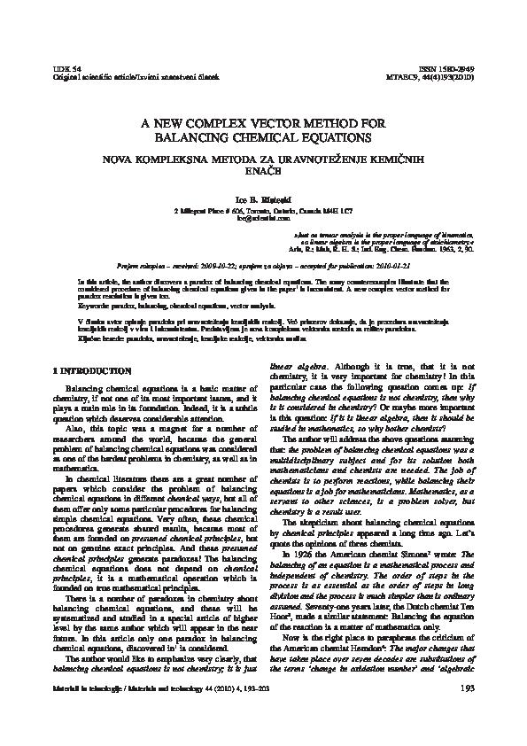 PDF) ICE B  RISTESKI: A NEW COMPLEX VECTOR METHOD FOR BALANCING