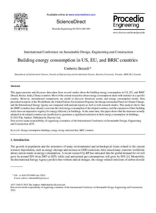 Building energy consumption in US, EU, and BRIC countries   Umberto
