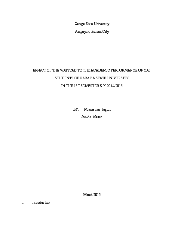 DOC) EFFECT OF READING WATTPAD TO THE ACADEMIC PERFORMANCE CAS