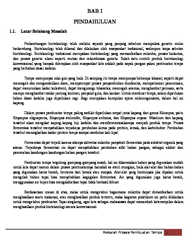 Doc Makalah Pembuatan Tempe Bioteknologi Rhizopus Oligorporus Ari Asriyanto Academia Edu