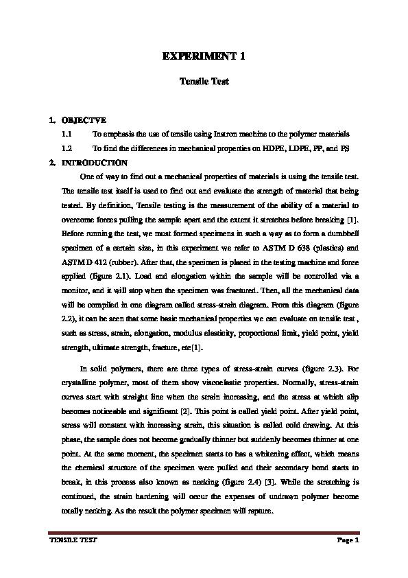 PDF) POLYMER TENSILE TEST ANALYSIS   Ian Widi Perdana - Academia edu