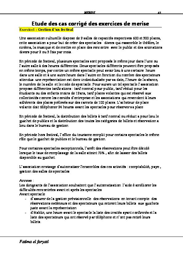 Pdf Etude Des Cas Corrigé Des Exercices De Merise Fatima El Faryati Academia Edu