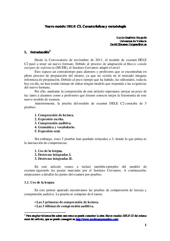 Pdf Nuevo Modelo Dele C2 Características Y Metodología