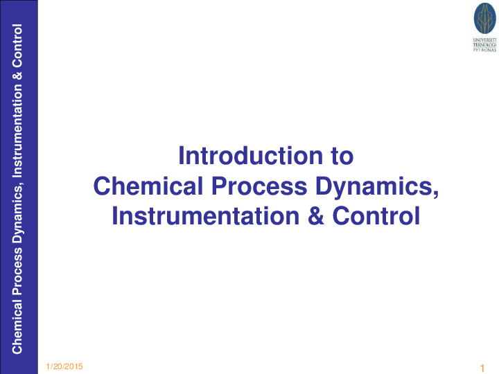 PDF) Introduction to Chemical Process Dynamics, Instrumentation
