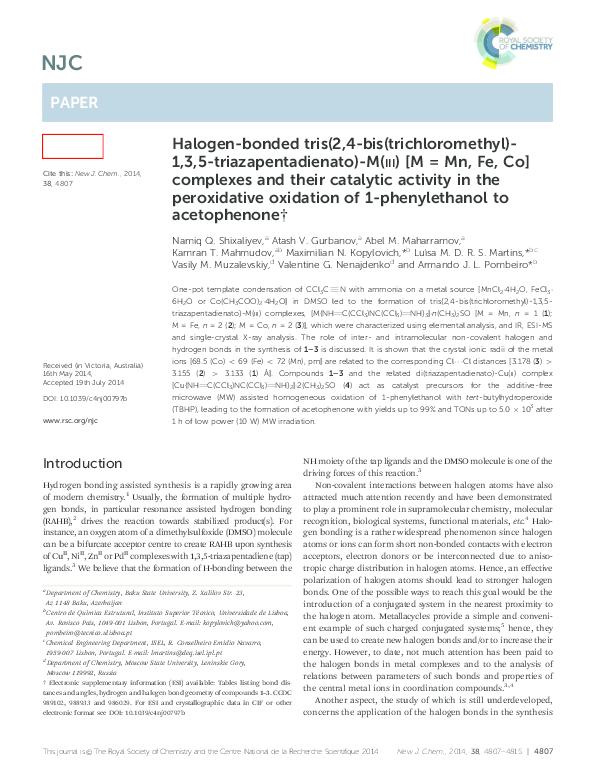 PDF) Halogen-bonded tris(2,4-bis(trichloromethyl)-1,3,5