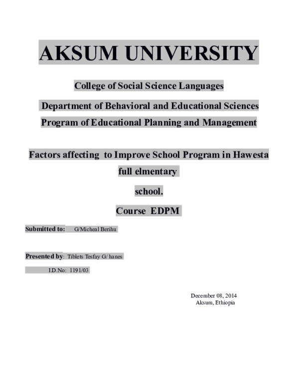 Program of Educational Planning and Management Factors affecting to