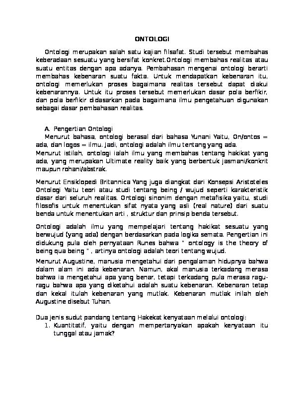 Makalah Ontologi Filsafat Ilmu
