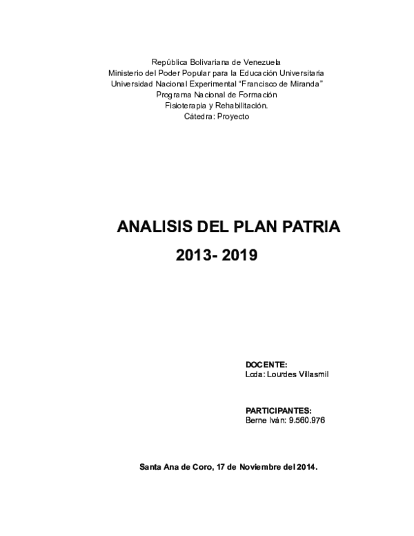 DOC) ANALISIS DEL PLAN PATRIA | Ivan Arturo Berne Sembianti