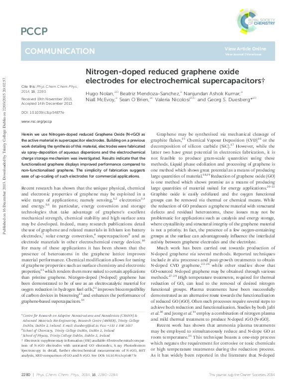 PDF) Nitrogen-doped reduced graphene oxide electrodes for