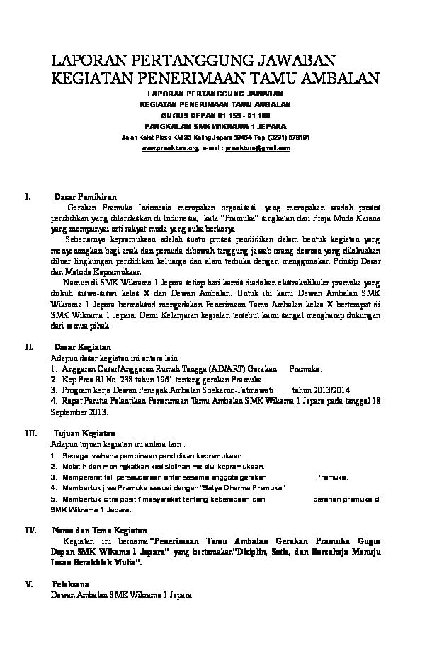 Doc Laporan Pertanggung Jawaban Kegiatan Penerimaan Tamu Ambalan Suryanto Wibowo Academia Edu