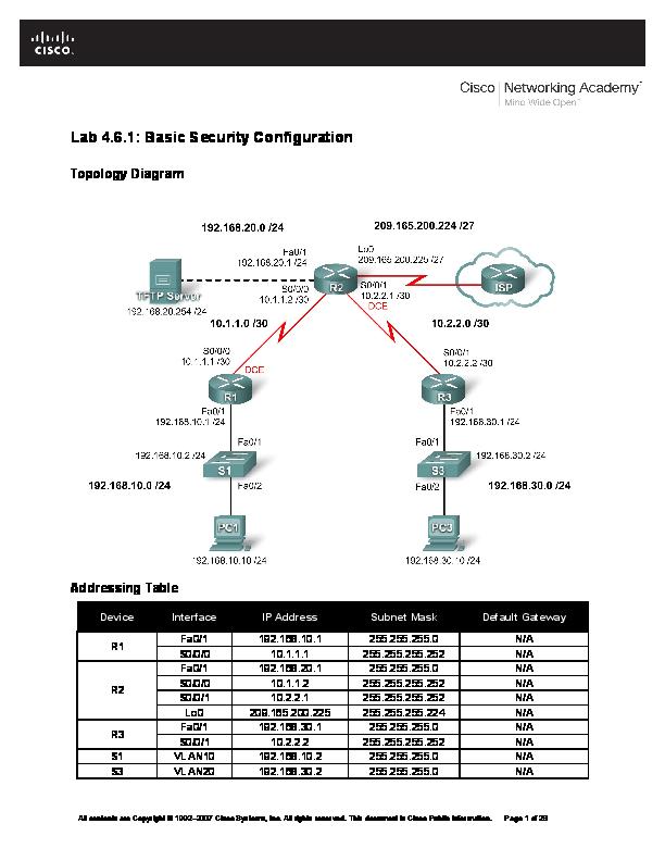 DOC) Lab 4 6 1: Basic Security Configuration Topology