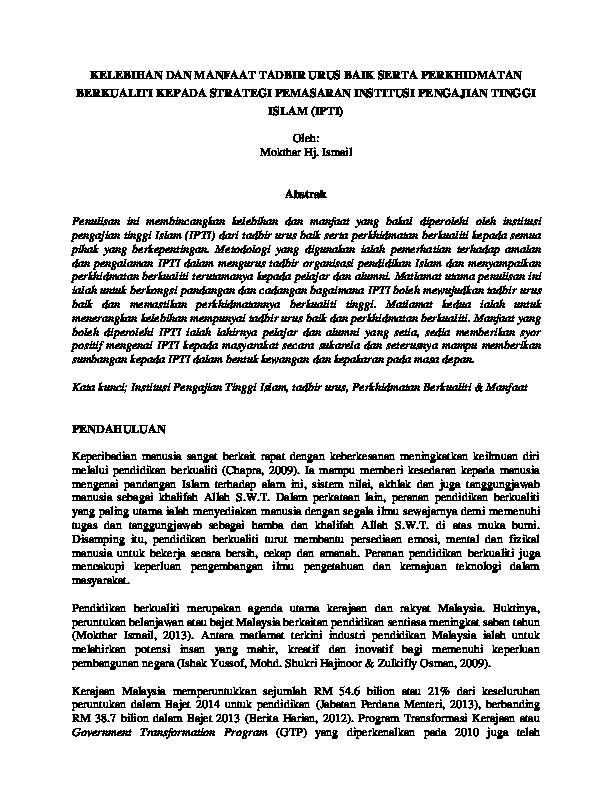 Pdf Kelebihan Dan Manfaat Tadbir Urus Baik Serta Perkhidmatan Berkualiti Kepada Strategi Pemasaran Institusi Pengajian Tinggi Islam Ipti Mokthar Ismail Academia Edu