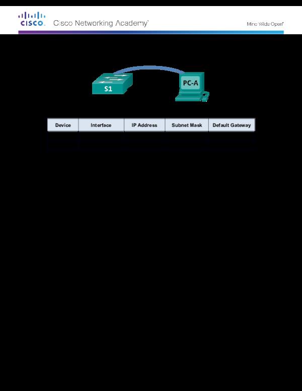 DOC) Lab –Configuring Basic Switch Settings | Mwandishi Mmoja