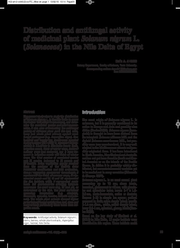 PDF) Distribution and antifungal activity of medicinal plant