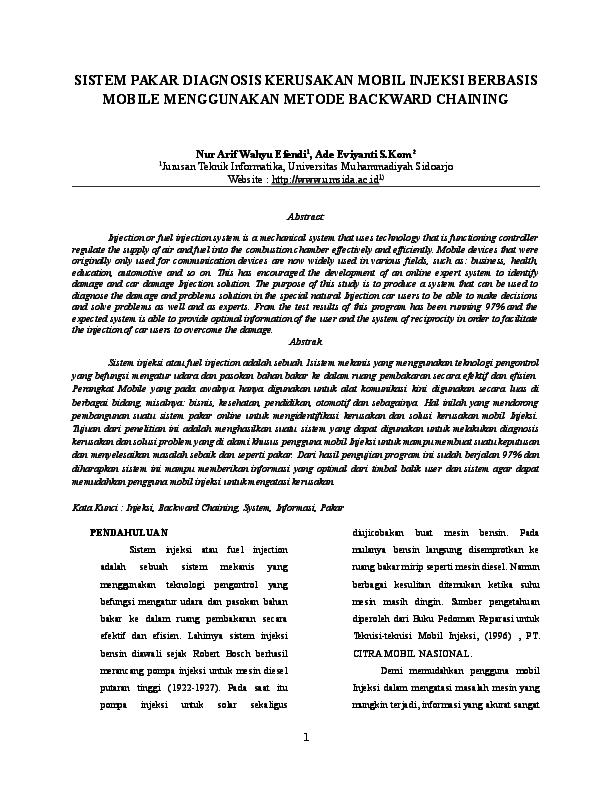 Doc Jurnal Skripsi Sistem Pakar Diagnosis Kerusakan Mobil