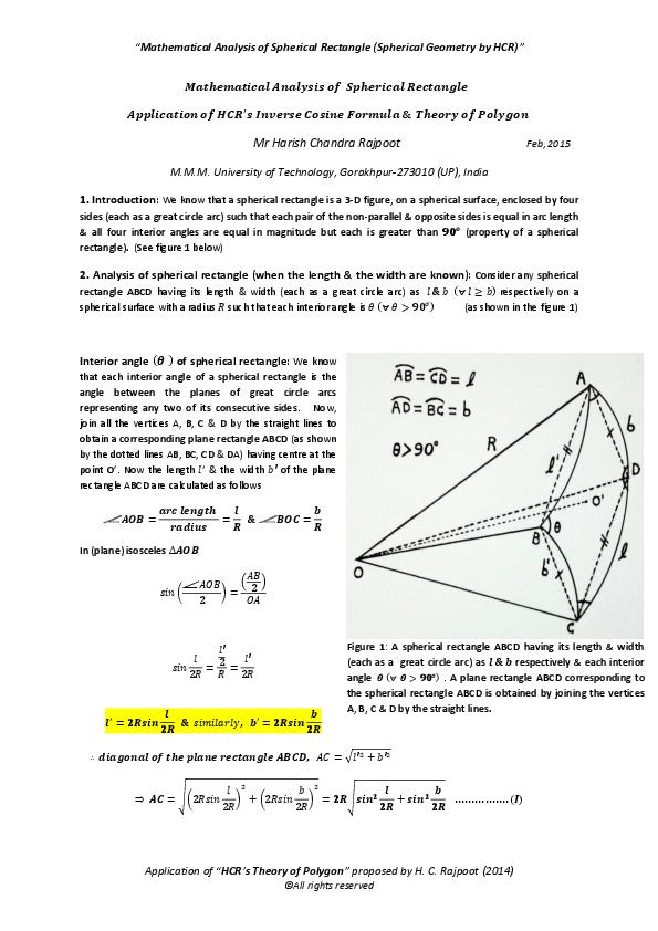 PDF) Mathematical Analysis of Spherical Rectangle (Spherical