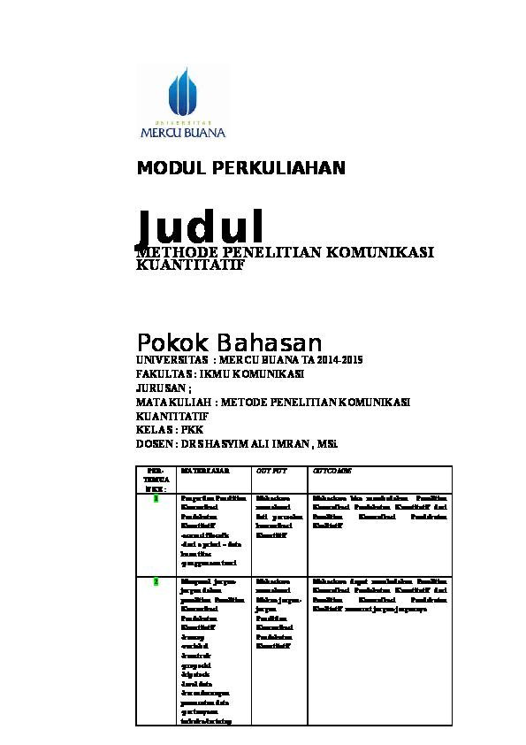 Doc Modul 3 Metode Penelitian Komunikasi Pendekatan Kuantitatif