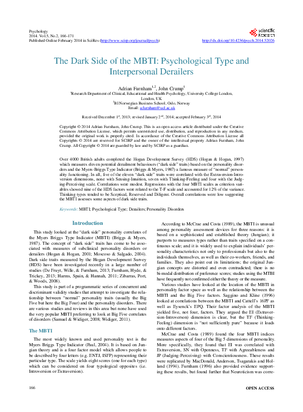 PDF) The Dark Side of the MBTI: Psychological Type and