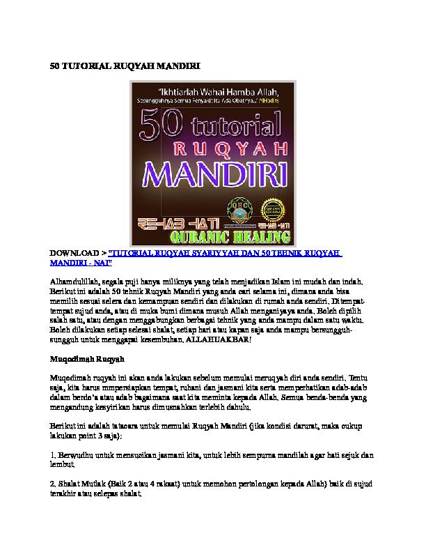 DOC) 50 TUTORIAL RUQYAH MANDIRI   hasan san - Academia edu