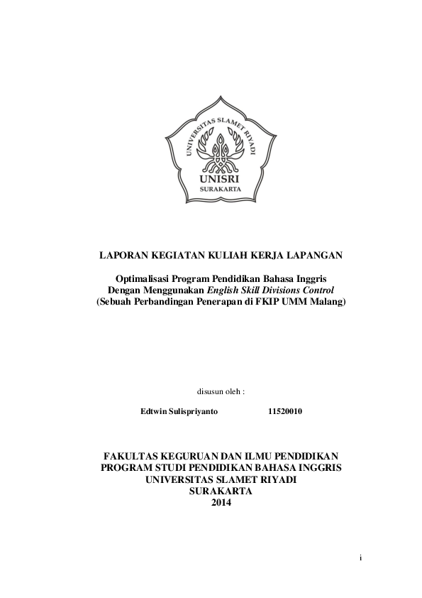 Pdf Optimalisasi Program Pendidikan Bahasa Inggris Dengan Menggunakan English Skill Divisions Control Sebuah Perbandingan Penerapan Di Fkip Umm Malang Edwin Clemenz Academia Edu