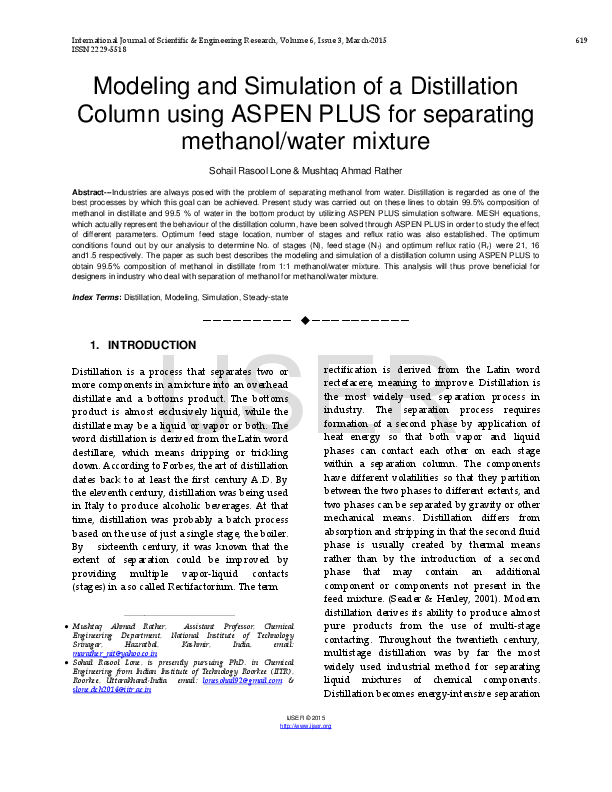 PDF) Modeling and Simulation of a Distillation Column using ASPEN
