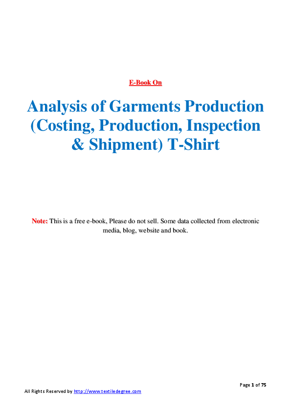 PDF) Analysis of garments production (costing, production