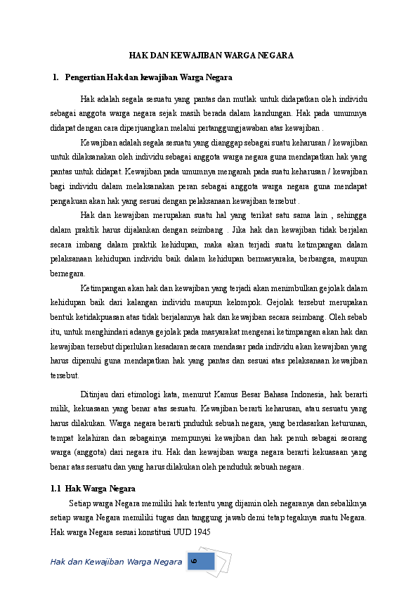 Hak Dan Kewajiban Warga Negara Meta Arsella Academia Edu