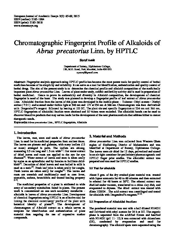 PDF) Chromatographic Fingerprint Profile of Alkaloids of Abrus