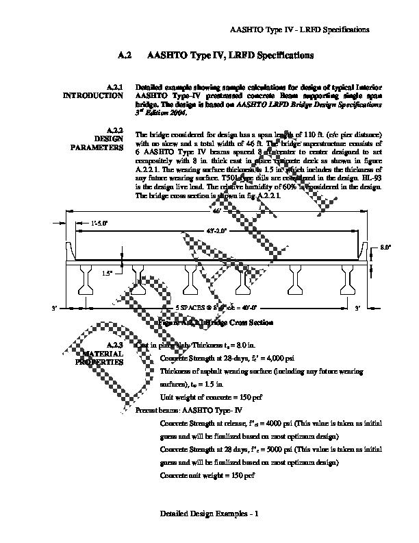 PDF) AASHTO Type IV -LRFD Specifications Detailed Design