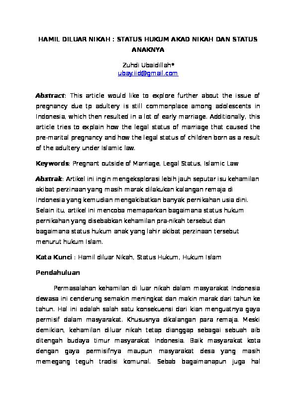 Doc Hamil Diluar Nikah Status Hukum Akad Nikah Dan Status Anaknya Zuhdi Ubaidillah Academia Edu