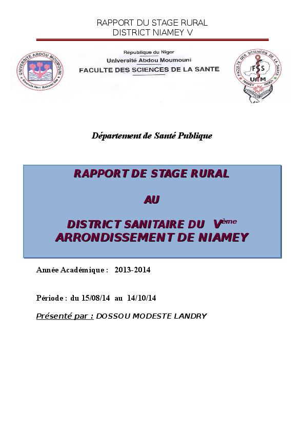 Doc Département De Santé Publique Sommaire Introduction I
