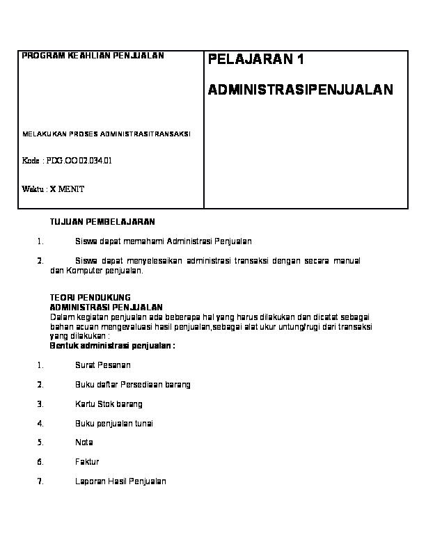 Doc Pormat Administrasi Penjualan Barang Hari Saputra