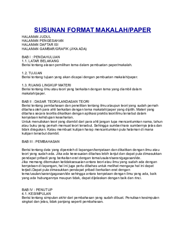 Doc Susunan Format Makalah Paper Vievie Vreity Academia Edu