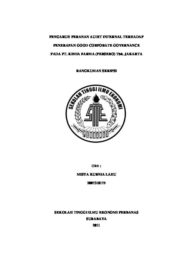 Pdf Pengaruh Peranan Audit Internal Terhadap Penerapan Good Corporate Governance Riska Dwi Academia Edu