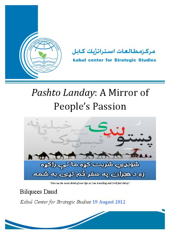 PDF) Pashto Landy: A Mirror of People's Passion | Bilquees Daud