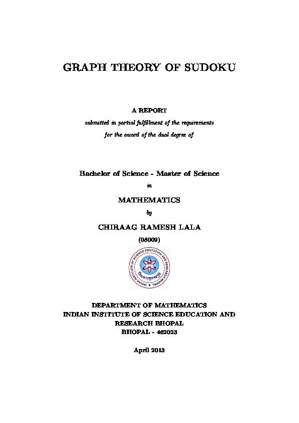 PDF) BS-MS Thesis: Graph Theory of Sudoku   Chiraag Lala