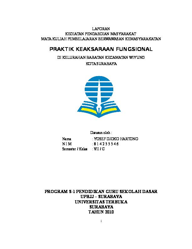 Download Contoh Laporan Pembelajaran Berwawasan Kemasyarakatan Buta Aksara
