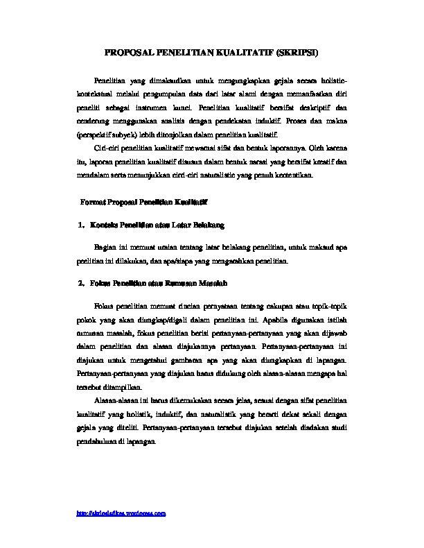 Contoh Skripsi Penelitian Kualitatif Deskriptif