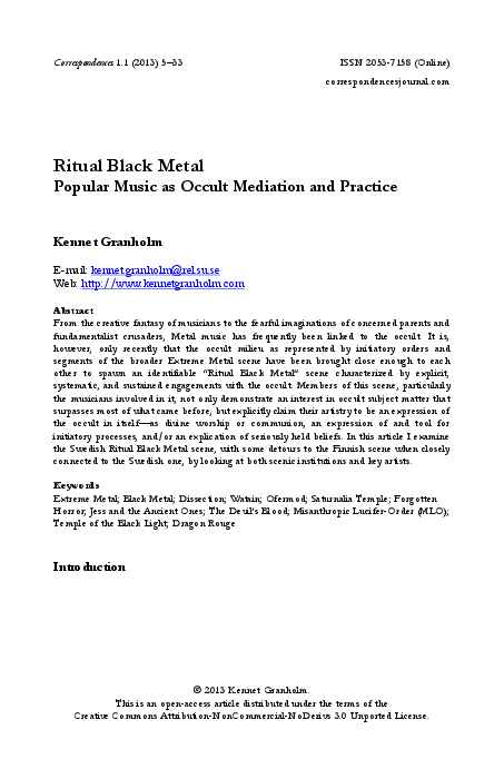 PDF) Ritual Black Metal: Popular Music as Occult Mediation and