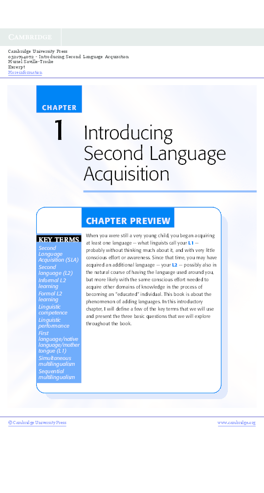 Introducing Second Language Acquisition Pdf