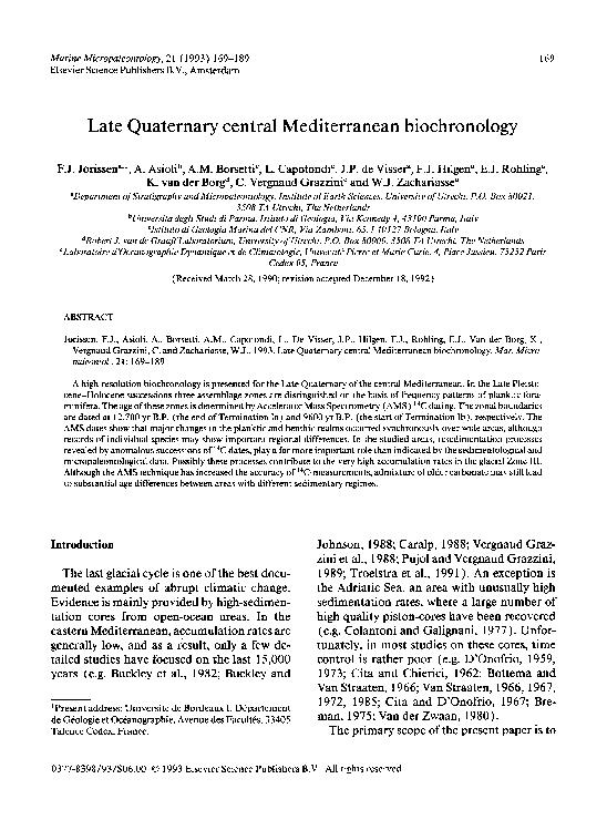 Late Quaternary central Mediterranean biochronology