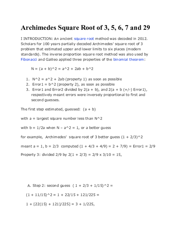 DOC) Archimedes Square Root of 3, 5, 6, 7 and 29 | milo