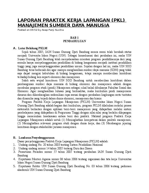 Doc Laporan Praktek Kerja Lapangan Pkl Manajemen Sumber Daya Manusia Bayu Eka Academia Edu