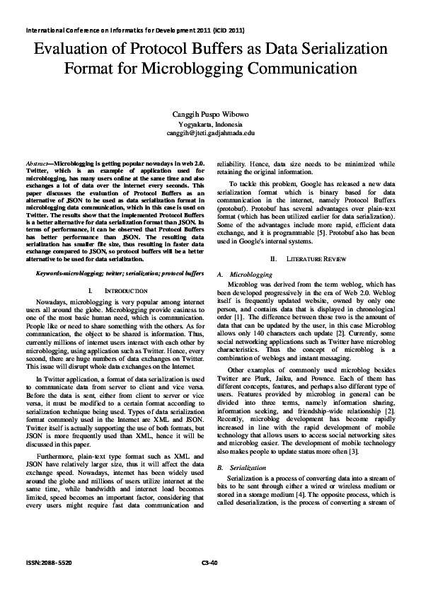 PDF) Evaluation of Protocol Buffers as Data Serialization