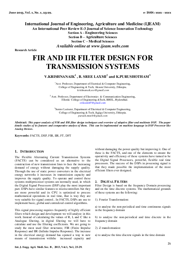 PDF) FIR AND IIR FILTER DESIGN FOR TRANSMISSION SYSTEMS | Dr