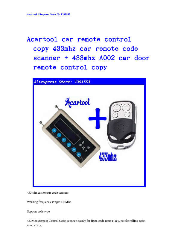 DOC) Acartool car remote control copy | tina lee - Academia edu