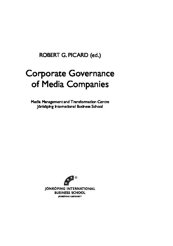Pdf Corporate Governance Of Media Companies Robert G