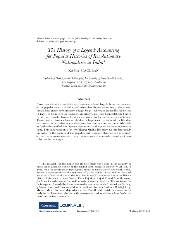 PDF) The History of a Legend: Accounting for Popular