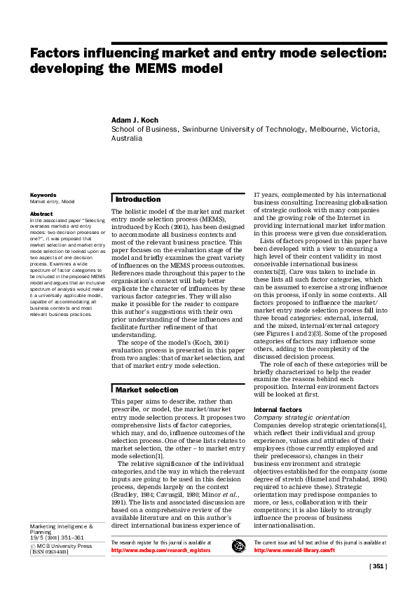 PDF) Factors influencing market and entry mode selection