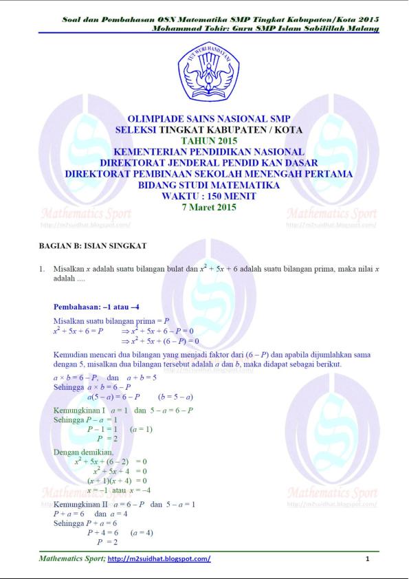 Soal Osn Matematika Smp 2015 Pdf